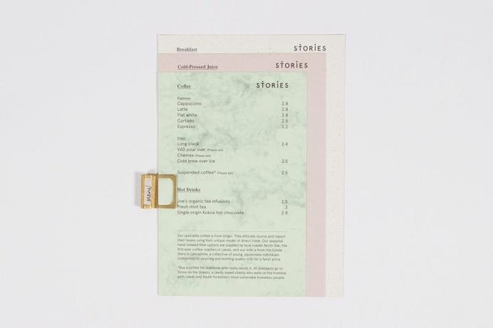Menu for Stories café #print #menu #stories #paper #layout #pastel #scandinavian #branding #identity
