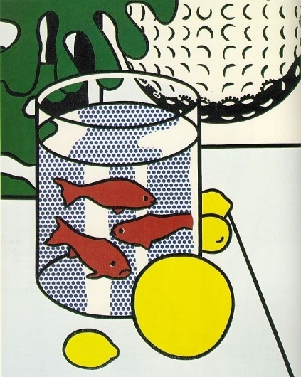 1972+Still+Life+with+Goldfish+Bowl+and+Painting+of+a+Golf+Ball.jpg 639×799 pixels #print #colours #art #pop