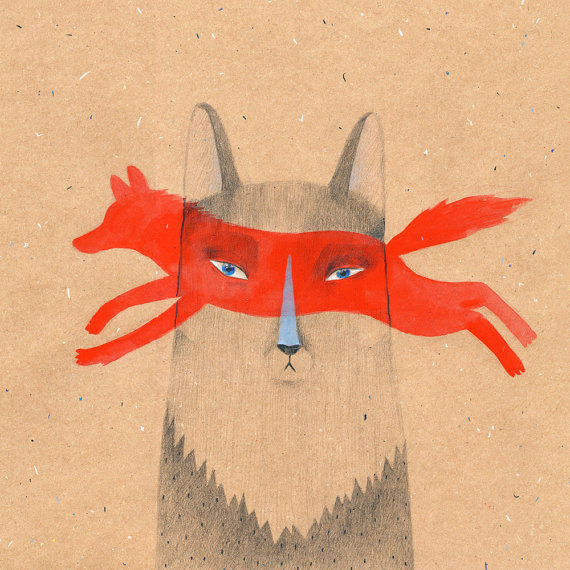Their ancestors were wolves 30x30cm (12x12in) print #wolves #illustration #animal #fox