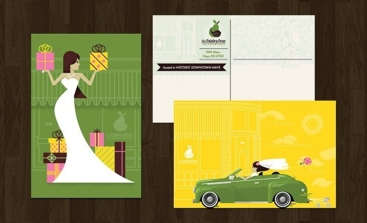 The Paisley Pear | Duct Tape and Glitter #presents #design #fruit #spears #bride #illustration #mid #century #modernism #car