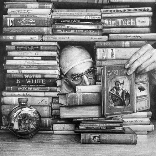 Drawings by Ethan Murrow | 123 Inspiration #aviation #books #desk #stacked #pencil #sketch