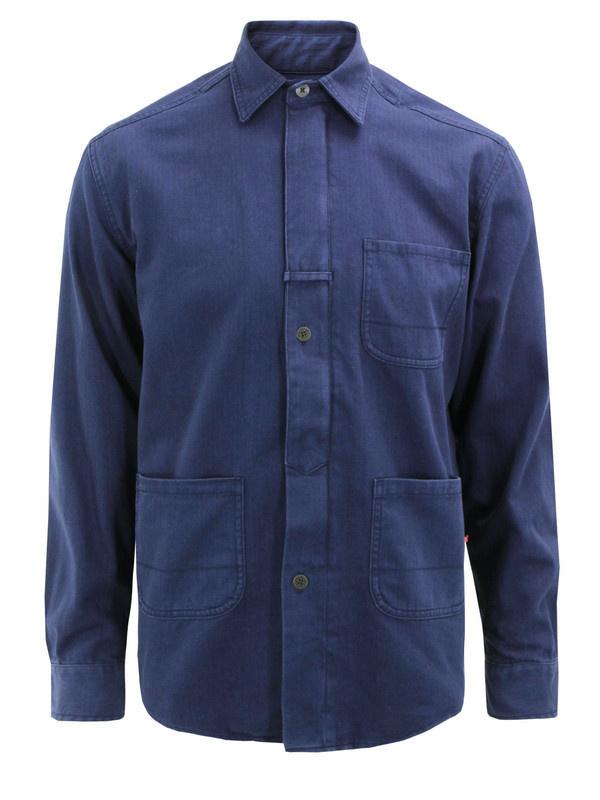 Sale Han Kjobenhavn Zip Utility Blue Jacket at Coggles #fashion #shirt