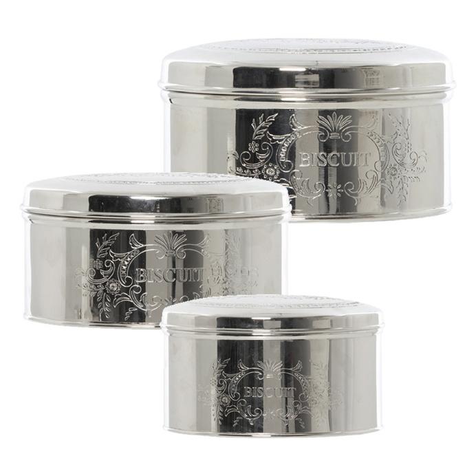 Henri Silver Round Tins, Set Of 3