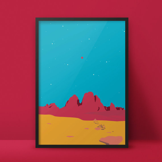 Red Mons - In Space? Series https://www.etsy.com/de/listing/226528437/red-mons-in-space-serie #alien #mons #red #astronauts #a2 #woods #graphic #geometric #space #proportion #illustration #rocket #minimal #poster #series #huge #postcard