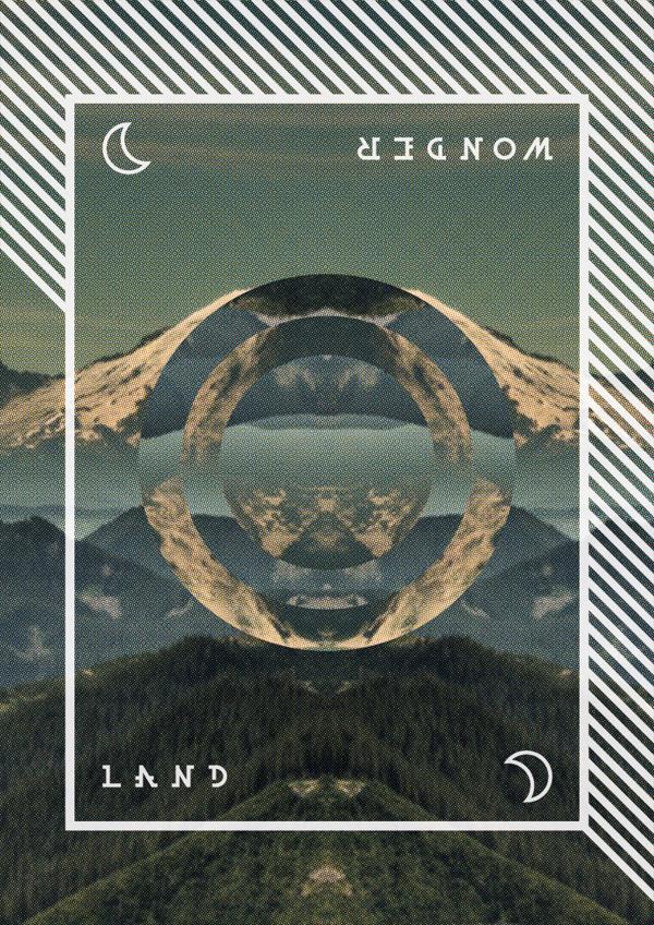 Wonder Land #mountain #vector #geometry #print #landscape #nature #circle #forest