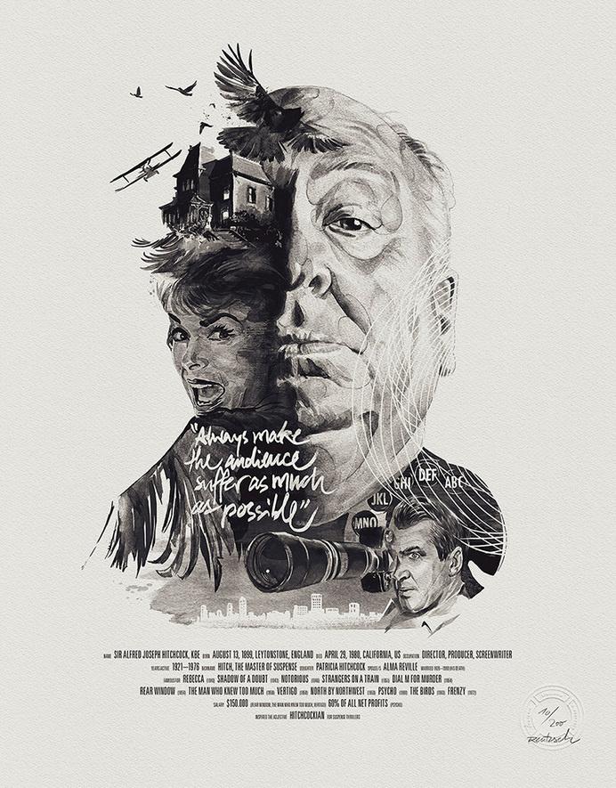 Hitchcock, cinema, illustration, birds, poster