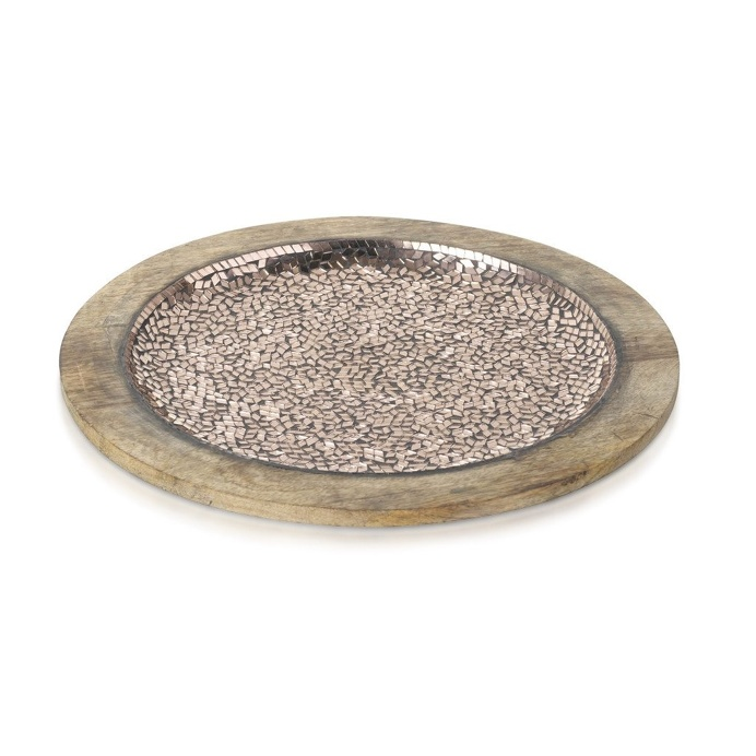 Tray Mosaic Glass Natural/Copper 38cm