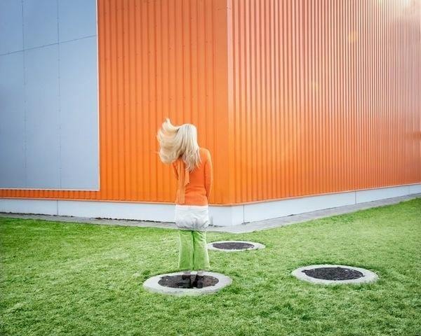 Hungarian photographer Bence Bakonyi's series... | EXHIBITION ISM #girl #camouflage #orange #photography #stylized #green