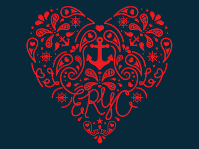 ERYC Valentines Tournament #heart #valentines #vector #yacht #illustration #paisley #nautical #anchor #club