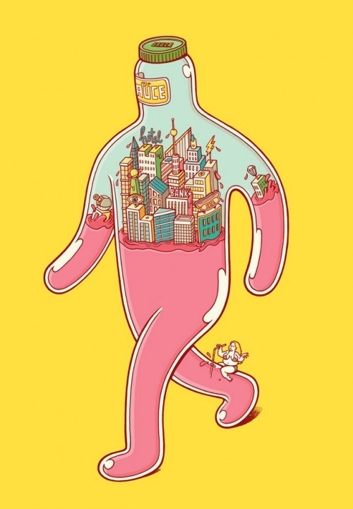 """What's Inside?"" – Character Designs by Brosmind #bizarre #city #glass #illustration #surreal #walk"