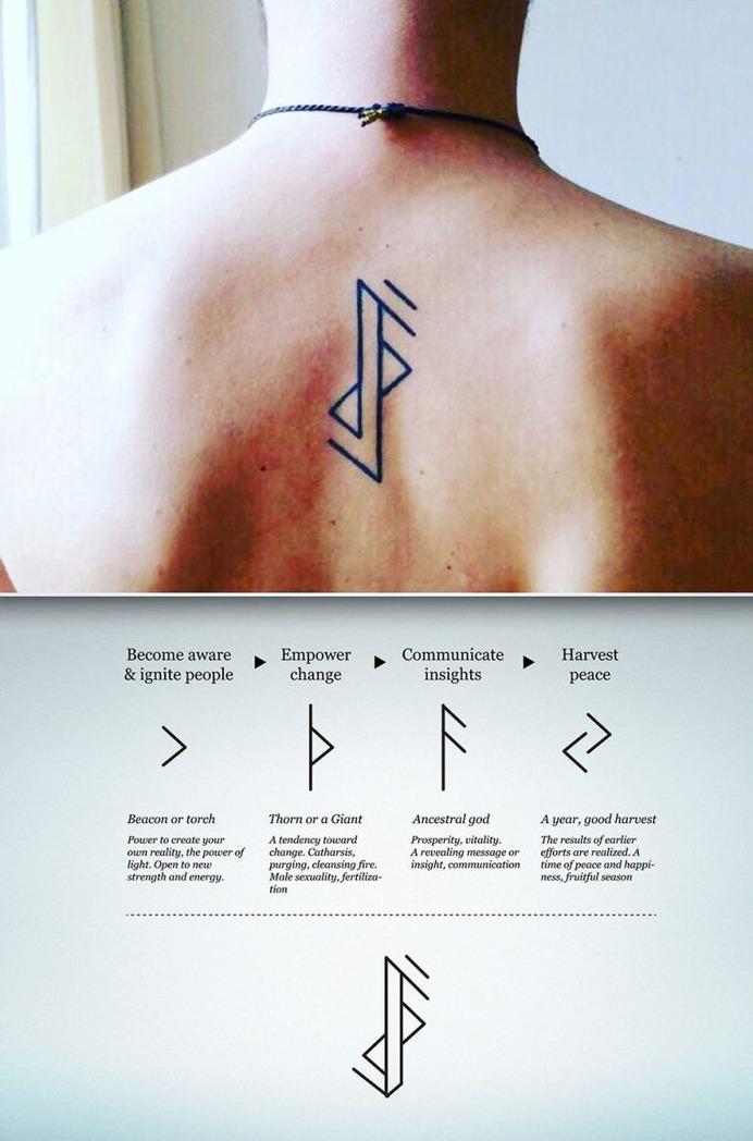 Runes minimalist tattoo design