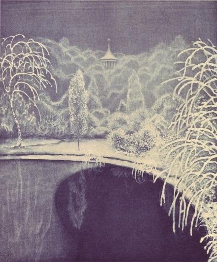 50 Watts #print #illustration #art #etching #lake #trees