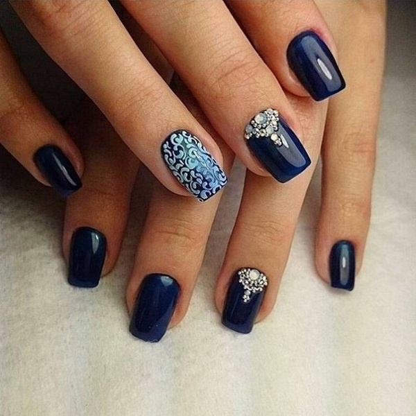 30 DARK BLUE NAIL ART DESIGNS - Best Nail Art 30 Dark Blue Images On Designspiration