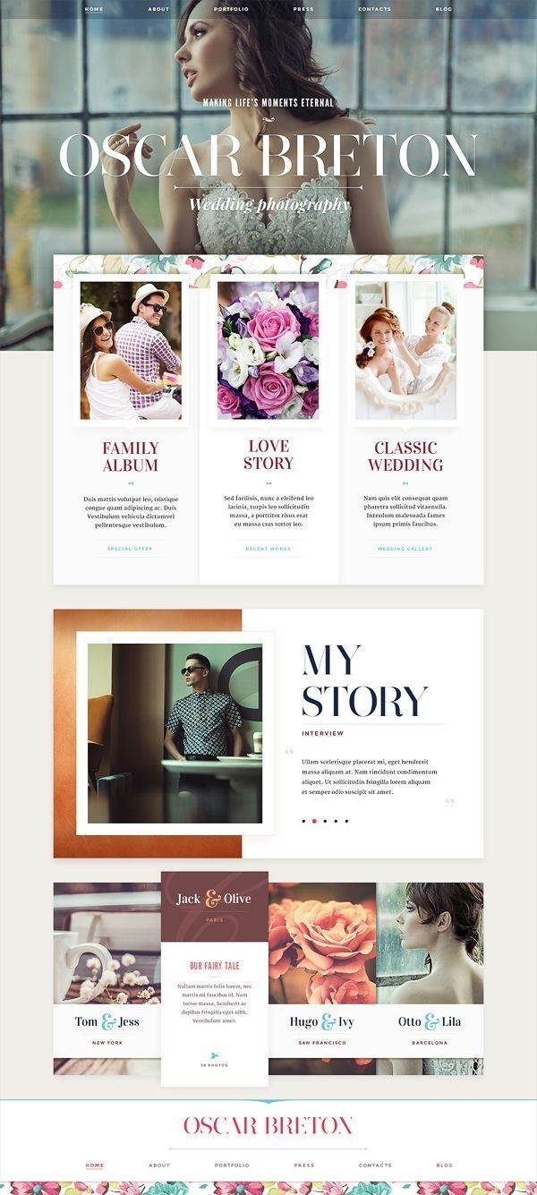 Website design: part 1 by Mike #flat #inspiration #wedding #ux #design #interface #ui #colorful #web #typography