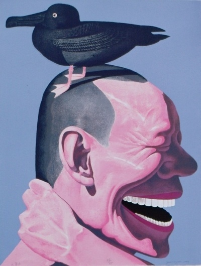 Yue Minjun and the signs of the techno-industrialists - but does it float #painting #yue #art #minjun