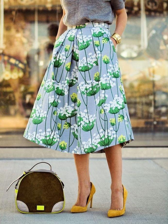 Full skirt #fashion #skirt #pattern #flowers