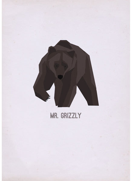 Mr Grizzly - poster #grizzly #vector #print #paper #illustration #gif #poster #animal