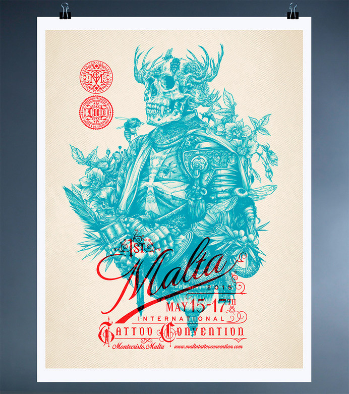 Dagger & Co. by Chad Michael #print #tattoo #poster #overprint #skull