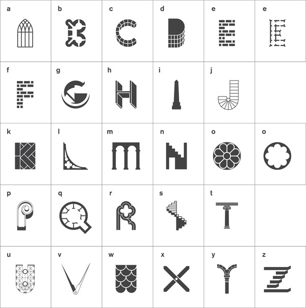 Architectural alphabet #icons #typography