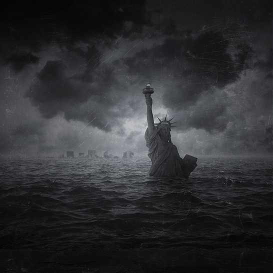 """""""Facing A New World"""" by Pierre-Alain D. #ocean #liberty #clouds #immerged #fiction #statue #apocalypse #scifi #sea #dark #future #science"""