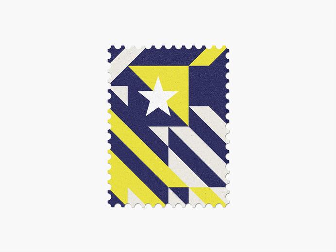 Bosnia-Herzegovina #stamp #graphic #maan #geometric #illustration #minimal #2014 #worldcup #brazil
