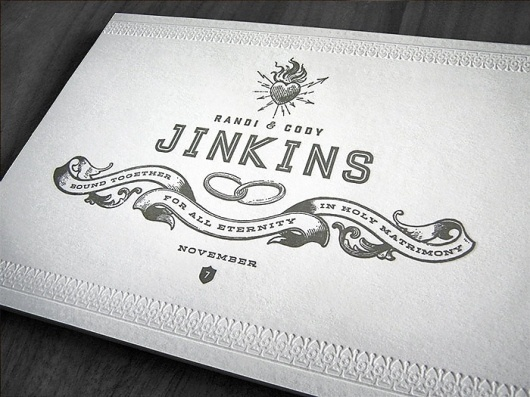 Letterpress Wedding Invitation by Curtis Jinkins #wedding #card #letterpress #invite