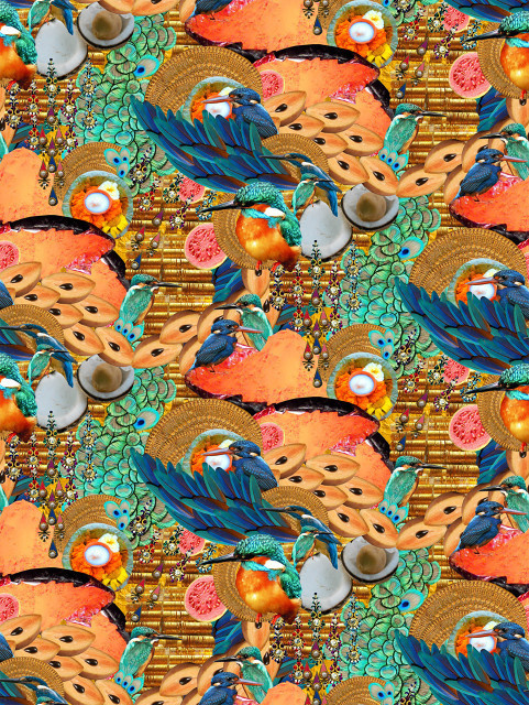 Chikoo Kingfisher Half Drop Repeat #collage #pattern