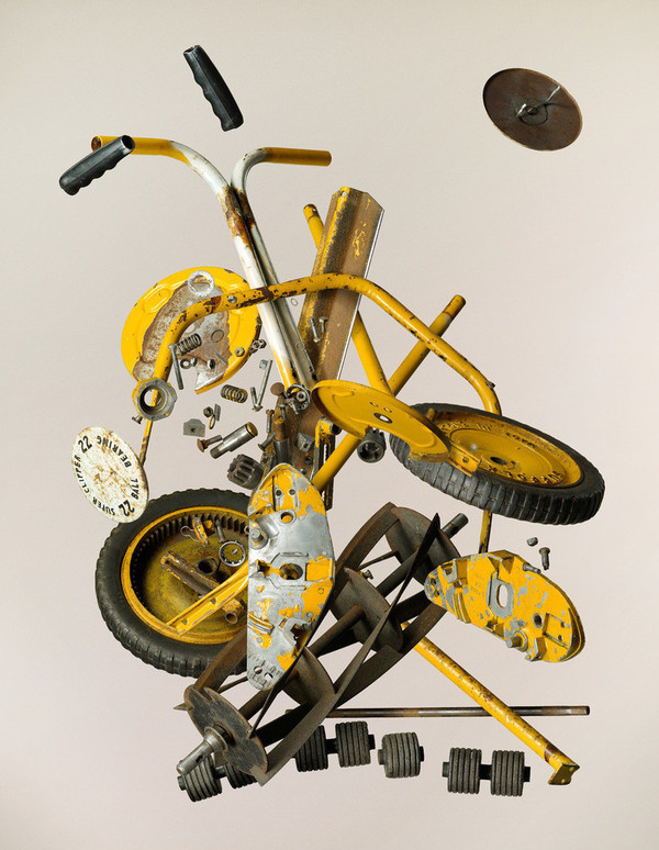 Apart Push Lawn Mower #photo #disassembly #yellow #items