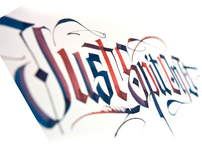 wide brush w/ different colors at ends #calligrapfy #type #color