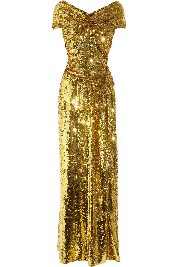 Vivienne Westwood Gold Label Long Glazing Metallic Sequined Gown in Gold | Lyst #woman #golden #gold #fashion #dress