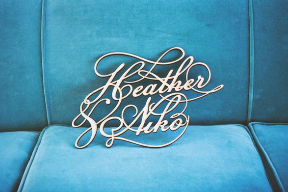 """""""Heather Niko"""" wedding typography #metal #lettering #wedding #typography"""