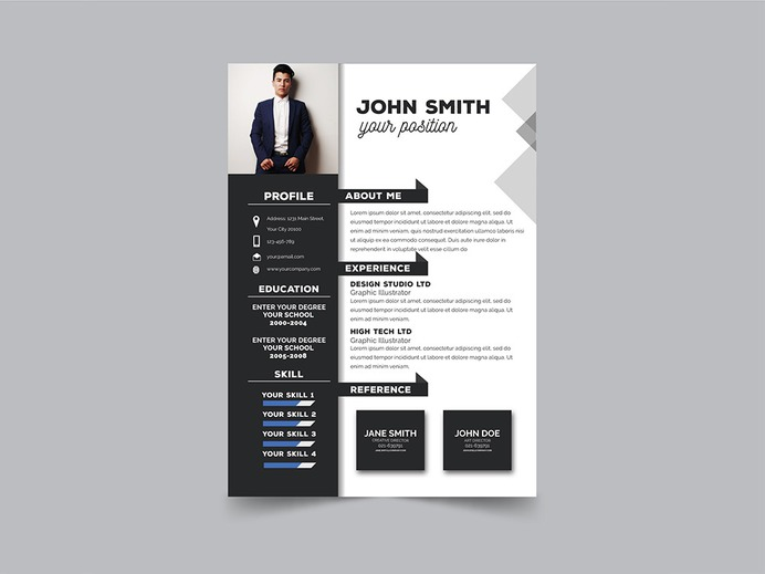 Free Modern Formal Resume Template with Clean Design