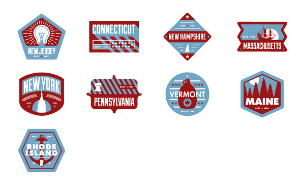 Northeast Badges #pennsylvania #states #chris #america #rushing #vermont #island #maine #massachusetts #badges #rhode #york #usa #hampshire #jersey #connecticut #new