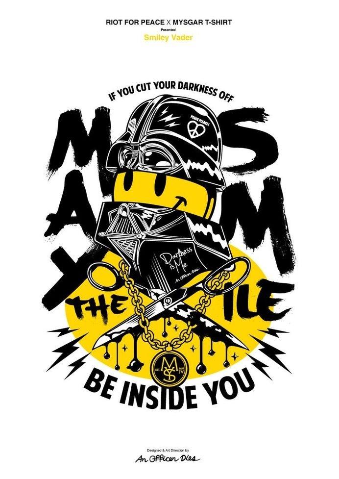 Riot for Peace x Mysgar T-shirt : Smiley-Vader(2014) Poster #poster #illustration #tshirt #art
