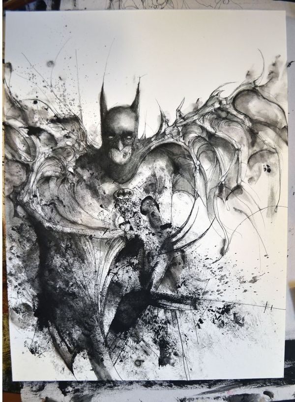 Painting by Eric Lacombe #black #batman #illustration #painting #drawing