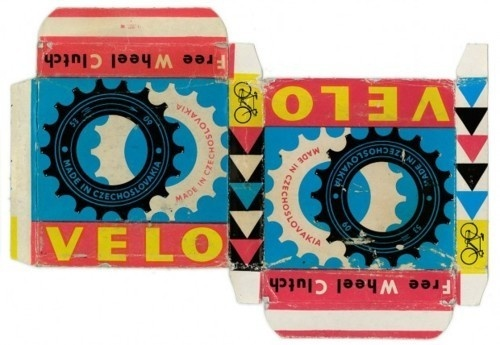 packaging for Velo Free Wheel Clutch bicycle parts in a box, c. 1950?(first discovered via Made in Czechoslovakia, via goenetix) #packaging