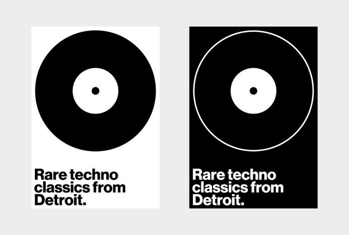 Rare techno classics from Detroit. #graphic #design #poster #gif #artwork #music #flyer #swiss #modernist #minimal