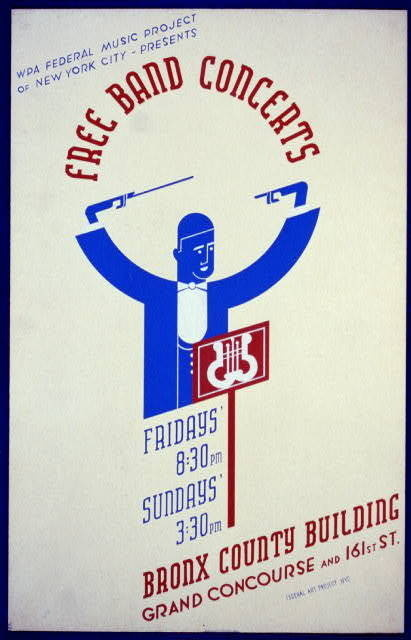 WPA Federal Music Project of New York City presents free band concerts [at the] Bronx County Building #flat #illustration #geometric #poster