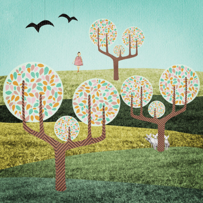 michelle carlslund: in the woods #nordic #woods #danish #bird #illustration #cats #scandinavian #poster #blue #fields #illustraiton #trees #green