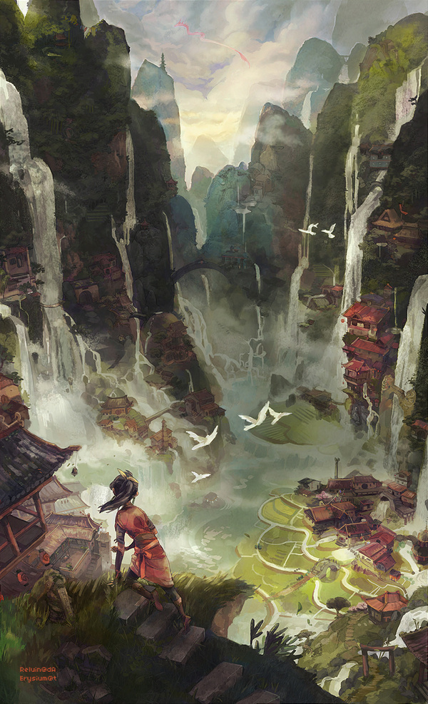 Illusions by Reluin #fantasy #mountain #asia #waterfalls #landscape #illustration #china #valley #beauty