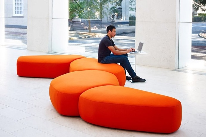 Colours is a fun, bright, and fluid new collection of modular seating. The rounded forms of the different seats fit together like a puzzle m #product #furniture #design #modern