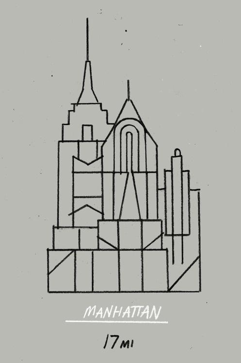 month day year:Manhattan 17mi #lines #city #manhattan #strokes #illustration #buildings