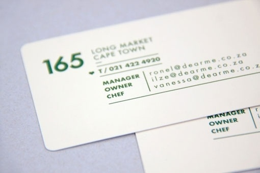 Design Work Life » Daniel Ting Chong: Dear Me Brasserie Identity #dear #business #branding #stationary #card #me #identity #minimal #rules #green