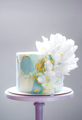 Beautiful white cake, perfect for wedding ceremony.