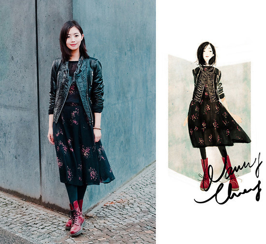 Marc Cain Jacket, Dr. Martens Boots #fashion #illustration #photography #woman