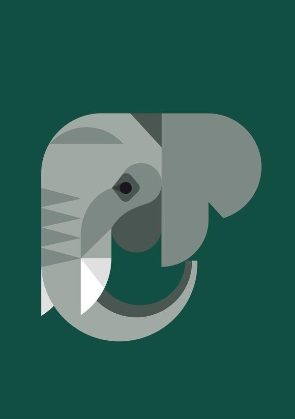 Elephant Illustration by Studio Hey! #illustration #icon #geometric #icon #iconic #elephant #animal
