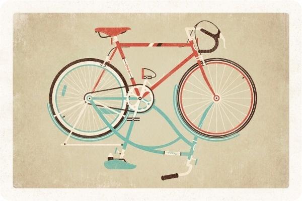 DKNG Postcard #print #dkng #bike #illustration