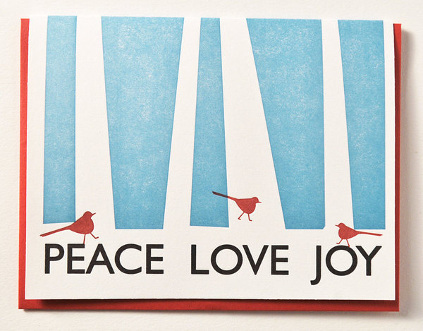 letterpress holiday cards peace love joy cardinals set of 12 christmas cards christmas card - Letterpress Holiday Cards
