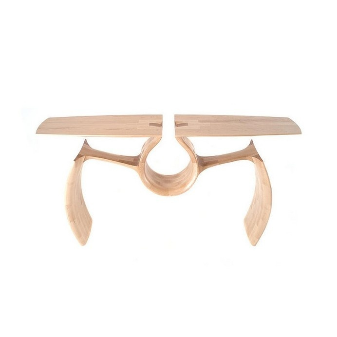 Unconventional Maple Entry Table Exuding a Singular, Continuous Form #wood #furniture #table