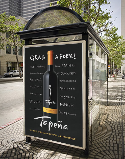 Tapeña Wine Freixenet, Spain Spring 2010 Bus Shelter Ad Spain #wine #advertising